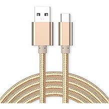 Kit Me Out ES Cable De Carga Micro USB [1M] para Microsoft Lumia 650, KMO, [3.1 A Cargador Rápida] Trenzado Nilón Nylon [USB 3.0 SuperSpeed USB] [Transferencia De Datos De Hasta 5 Gb/s] - Oro