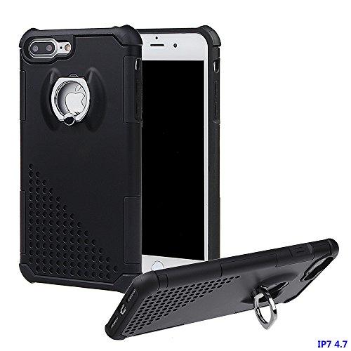 """xhorizon MW8 Drehend Metallring Kickstand Doppelschichtkasten Hybrid Hochleistung Stoßfester Absorption Schützend Case für iPhone 7 [4.7""""] - Rose Gold Schwarz Mit einem 9H gehärtet Glasfilm"""