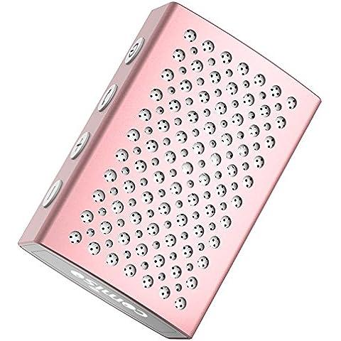 Altavoz Bluetooth, COMISO [Halo Audio] [Oro rosa] - [Aluminio de Lujo] [Impermeable al agua] Ultra - portátil mini altavoz de Bluetooth 4.0, altavoz para la Ducha inalámbrico incorporado con micrófono para las llamada de teléfono la mano
