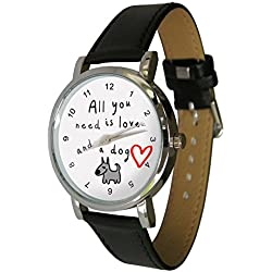 All you need is love, and a dog watch. The perfect dog lovers gift. Genuine Leather Strap