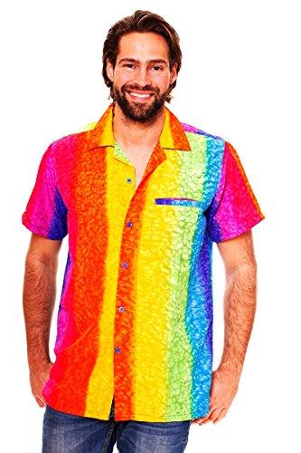 V.H.O. Funky Hawaiihemd   Herren   Kurzarm   Front-Tasche   Hawaii-Print   Regenbogen Streifen Vertikal Mehrfarbig