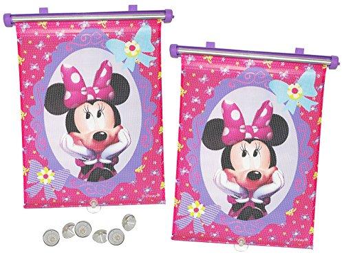 Preisvergleich Produktbild 2 tlg. Set Sonnenschutz Rollo - Disney Minnie Mouse - für Fenster und Auto Seitenscheibe - Sonnenblende - Mädchen Kinder Baby - Sonnenrollo - Maus Mäuse Schleifen - Rollos / Fensterblende - Sonnenschutzrollo