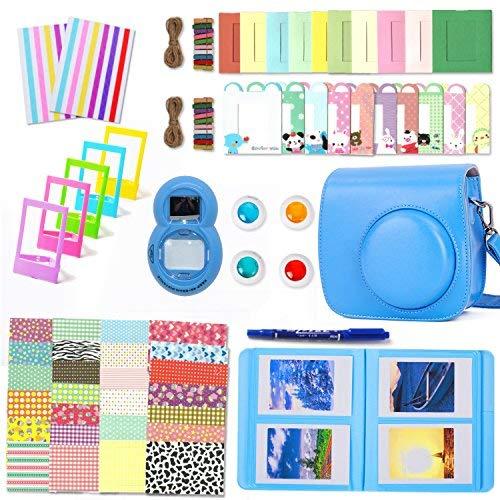 Leebotree Paquete de Accesorios para cámara Fujifilm Instax Mini 9 Incluye: Caso/Album/Lente para Autoretrato/Filtros/Marcos para fotos/Marcos de Películas/Bordes/Pegatinas/Bolígrafo (Azul Cobalto)