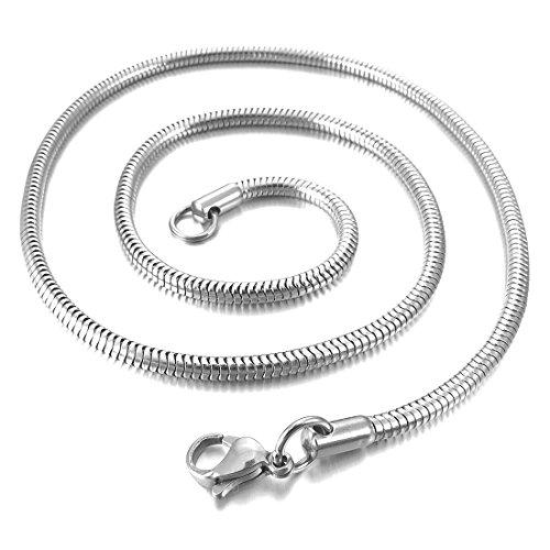 Catenina Uomo - TOOGOO(R)4.0mm Larghezza Acciaio Inossidabile Collana Snake Serpente Catena Catenina Collegamento Argento Biker 23 Pollici Uomo