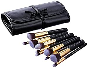 Amazon Brand - Solimo Makeup Brush Set With PU Leather Case (10 Pieces)