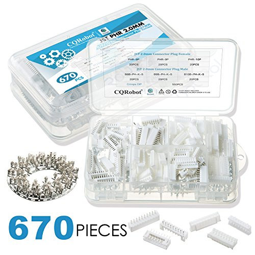 CQRobot 670 Pieces 2.0mm JST-PHR JST Connector Kit. 2.0mm Pitch Female Pin Header, JST PH - 8/9/10 Pin Housing JST Adapter Cable Connector Socket Male and Female, Crimp Dip Kit. (Female Connector Crimp)