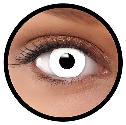 Farbige Kontaktlinsen weiß Zombie MIT STÄRKE | Ideal für Halloween, Karneval, Fasching oder Fastnacht | Inklusive Behälter von FXEYEZ | In verschiedenen Stärken als 2er Pack