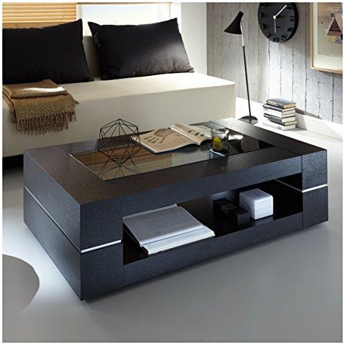 Couchtisch schwarz echtholzfurnier mit Glasplatte Sera 120x70cm Glastisch Modern