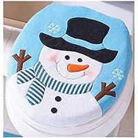 SMARTLADY Navidad Fundas para Asientos de Inodoro,Monigote de Nieve con una Cara Sonriente Linda Xmas Hogar Decoración