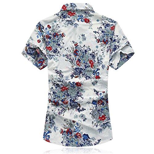 Mirecoo Herren Lässig Hemd Hawaii-Print mit Blumen Kurzarm T-Shirt Urlaub  Weiß ...