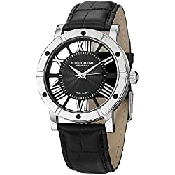 Stuhrling Original Winchester Advanced Men's Quartz Watch with Analogue Display and Black Leather Strap