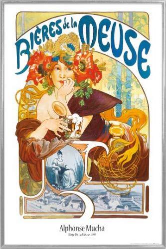 Alphonse Mucha Poster und Kunststoff-Rahmen - Biere Von Der Maas, 1897 (91 x 61cm) -