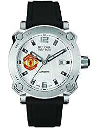Bulova Accu Swiss Manchester United Percheron Men's Automatic Watch with Silver Dial Analogue Display and Black Silicone Strap 63B195