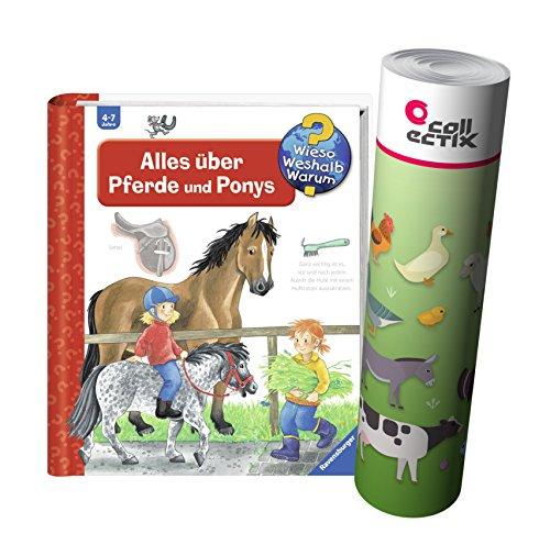 Ravensburger Kinder Sachbuch 4-7 Jahre - Alles über Pferde und Ponys + Bauernhof Tiere Poster by Collectix