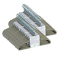 JVL Thin Velvet Space Saving Non-Slip Coat Hangers, Pack of 50, Beige