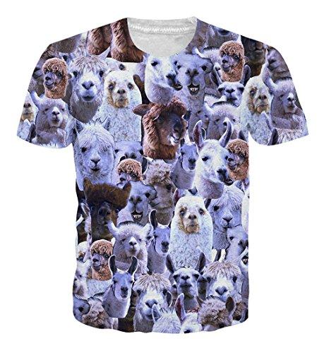 Goodstoworld T Shirt 3D Druck Herren Damen Alpaka Gesicht Print Sommer Lustige Beiläufige Kurzarm Partner T-Shirts T-Stücke S