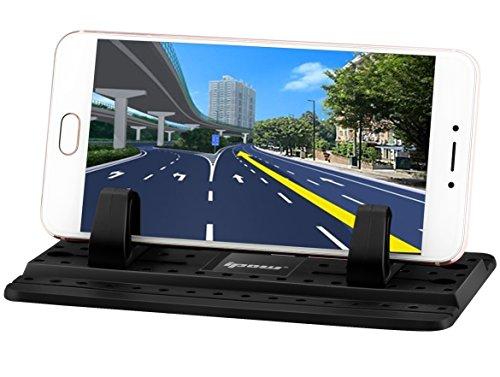 [ 2017 Nouvelle Version Améliorée ] Ipow Support Voiture en Silicone Universel avec Tapis anti-dérapant de Silicone collant Fixation sur le Tableau de Bord pour iPhone 7 / 7 Plus / 6s/ 6s Plus, Nokia, Huawei, Xiaomi, HTC, Sony et d'autres Appareils -Noir