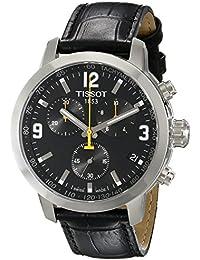Tissot T055.417.16.057.00 - Mouvement Cristal de roche - Affichage Chronographe - Montre à bracelet Cuir Noir et Cadran Noir - Homme