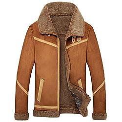 Flysky Thop-men Leather Jacket Men Leather Jacket Coat Winter Male Fur Coat Velvet Thicken Sheepskin Fur Coat, Coffee, Xl