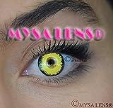 Mysa Lens® - Lenti a contatto colorate fantasia, ottime per cosplay, occhio giallo da lupo mannaro, 12 mesi, senza correzione