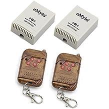 eMylo 2 x AC 220V 10A 433MHz RF inalámbrico interruptor de relé receptor de 2 CH Mandos peach-wood Color transmisor