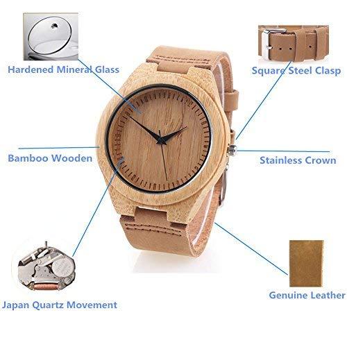 Bambus-Holzuhr mit Echtem Lederband Japanische Quarzwerk - Damen (Braun 4) - 2