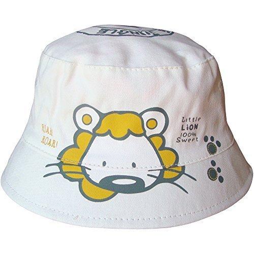 Baby Jungen & Mädchen Unisex Lion Safari Eimer Stil Sommer Sonne Strand Hut - Weiß, 6-12 Months (48cm) (Plain Sonne Hut)