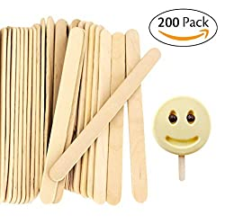 Acerich Craft & Ice Cream Sticks Wooden Popsicle Sticks 4-1/2 Length(Box of 200)
