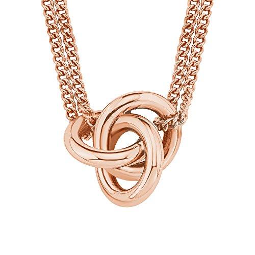 S.Oliver Damen Kette Halskette mit Anhänger Knoten Edelstahl IP 40+5 cm Rosegold