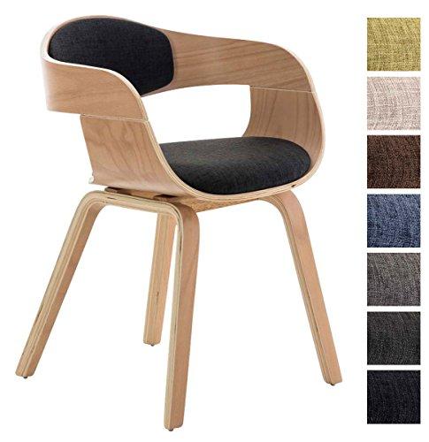 CLP Design Holz-Stuhl mit Armlehne KINGSTON Besucher-Stuhl gepolstert, Stoffbezug Stoff: dunkelgrau / Gestell: natura