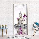 YFXGSTLI Bouddha avec Jolie Orchidée 3D Stickers De Porte Poster De Décoration De Chambre À Coucher PVC Imperméable Autocollants Porte 90X200Cm