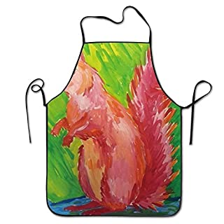 Unisex Kitchen Aprons Acrylic Animal Painting Squirrel Chef Apron Cooking Apron Barbecue Aprons