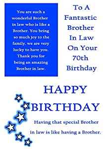 Brother In Law 70th Birthday Card With Removable Laminate Amazonco