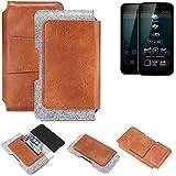 K-S-Trade Allview P6 Plus Gürteltasche Schutz Hülle Gürtel Tasche Schutzhülle Handy Smartphone Tasche Handyhülle PU + Filz, braun (1x)
