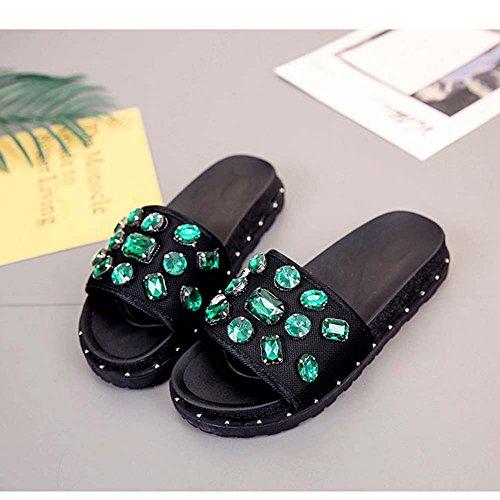 Estate Sandali Versione coreana del diamante Studenti indossano scarpe selvaggi femminile scarpe piane scarpe marea Colore / formato facoltativo Verde