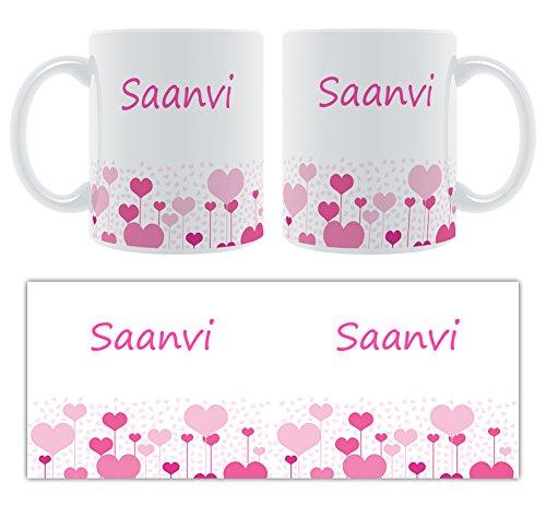 saanvi – Motif cœurs – Femelle Nom personnalisable Mug en céramique