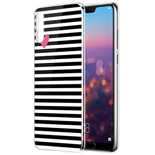 Eouine Huawei P20 Pro Hülle, Ultra Dünn Schutzhülle Silikon Transparent mit Muster Motiv Handyhülle Weich TPU Bumper Case Backcover für Huawei P20 Pro Smartphone (Streifen Schwarz)