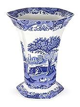 Blue Italian, 27 cm Vaso di Porcellana, a Forma Esagonale, con capienza di Un litro, Colore: Blu/Bianco