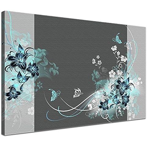 LanaKK Liebevollgrautürkis - Pregiata tela stampata su telaio, pronta da appendere, 60 x 40 cm, 1 pezzo