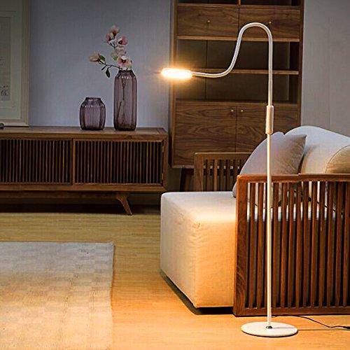 Tonffi® Stehlampe LED dimmbar 9W mit Fernbedienung Leselampe Touch-Schalter 720LM Wohnzimmerlampe Schwanenhals 360°drehbarem blendfrei modern 5 Helligkeitsstufen weiss