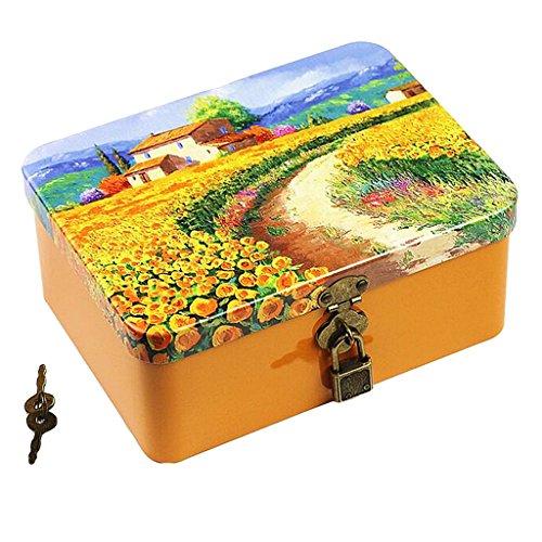 Fenteer Kleine Metalldose mit Deckel – Metallbox Geschenk Verpackung Dose - Sonnenblume