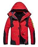 Herren Damen 3 in 1 Outdoor Funktionsjacke Skifahren Bergsteigen Trekkingjacke warm Kapuzenjacke Abnehmbarer Kapuze Rot Herren L