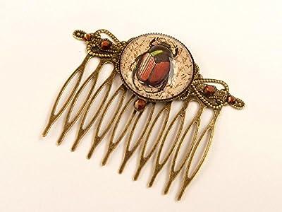 Peigne de scarabée Egypte bijoux de cheveux bronze marron