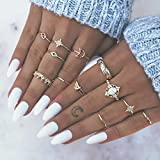 Simsly Boho Knuckle Ring Gold Vintage Kristall Joint Knuckle Ring Set mit Cresent für Frauen und Mädchen (12Pcs) (Gold 1)