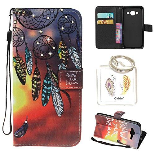 Preisvergleich Produktbild für Galaxy J3 (2016 Edition) PU Leder Silikon Schutzhülle Diamant Handy case Book Style Portemonnaie Design für Samsung Galaxy J3 (2016 Edition) + Schlüsselanhänger (AQT) (1)