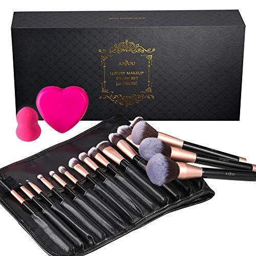 Make Up Pinsel Set 16pcs rosegoldenes Schminkpinsel Anjou Kosmetikpinsel Gesichtspinsel mit Make-up Schwämmchen, Silikon-Pinselreinigigungsmatte und eleganter PU-Ledertasche