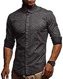 LEIF NELSON Herren Kurzarm Hemd Slim Fit Langarm Kurzarmhemd Freizeithemd Freizeit Party T-Shirt LN3455; XL, Schwarz