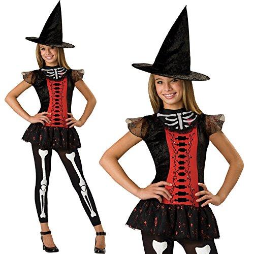 Mädchen Teen Tween Deluxe Lucky Skelett Hexe Halloween Kostüm
