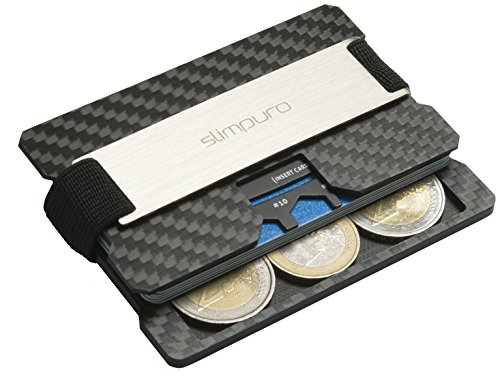 Premium Kreditkartenetui aus Carbon mit Münzfach und Metal Geldklammer C3 – RFID/NFC Schutz – Slim Wallet mit Coin Fach - Carbon Etui mit Geld Clip, Kartenetui