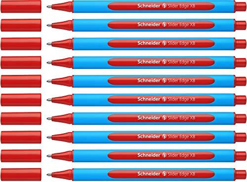 Schneider Slider Edge XB Kugelschreiber (Strichstärke: XB, dokumentenecht, Dreikant-Stift) 10er Packung rot